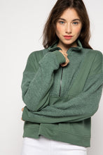 Load image into Gallery viewer, Chloe Green Pullover Half Zip Sweater