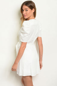 Danielle Puff Sleeve Wrap Dress- White