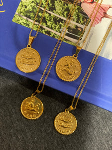 Horoscope Gold Coin Necklace