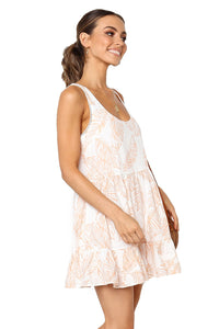 Ruby Leaf Pattern Ruffled Summer Boho Dress