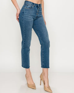 Cassidy Button Fly Straight Jeans