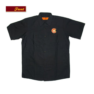 "Product Image - Button Down Work Shirt - Bull & Bush Brewery logo on front pocket, ""MAN BEER"" logo on reverse"
