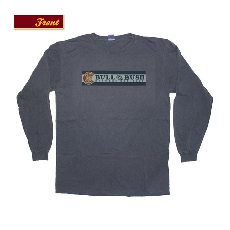 Product Image - Bull & Bush Brewery Long Sleeve T-Shirt with Colorado flag theme branding screen-printed front and back
