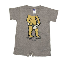 Load image into Gallery viewer, Product Image - 100% cotton romper with snap closures - Bull & Bush Brewery bobblehead print on front