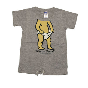 Product Image - 100% cotton romper with snap closures - Bull & Bush Brewery bobblehead print on front