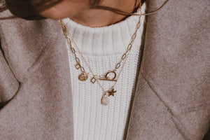 Handmade layered gold charm necklaces