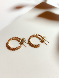 Handmade Gold Filled Twisted Mini Hoop Earrings