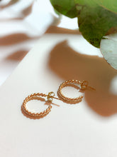 Load image into Gallery viewer, Handmade Gold Filled Twisted Mini Hoop Earrings