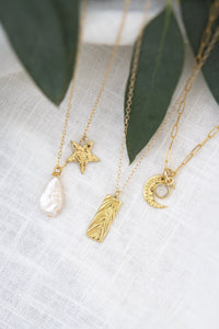 Handmade gold vermeil celestial moon and moonstone necklace