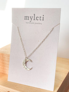Handmade textured eco silver crescent moon necklace