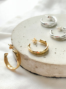 Handmade Unique Molten Hoop Earrings