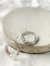 Load image into Gallery viewer, Handmade Sterling Silver Unique Organic Hoop Earrings