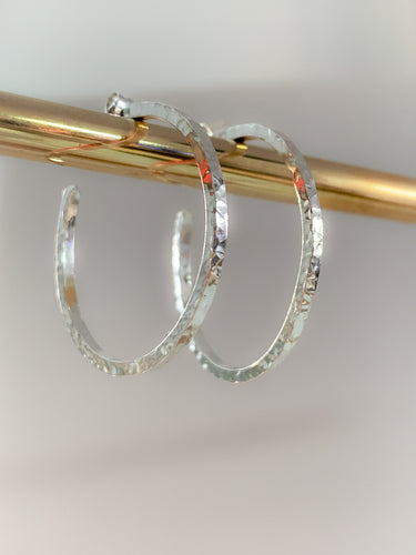 Myleti jewellery handmade eco sterling silver hammered hoop earrings