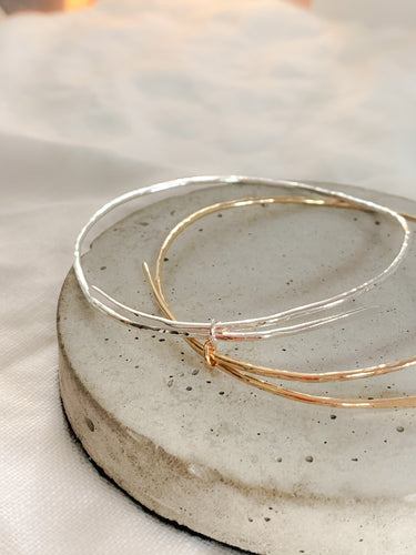 Myleti jewellery handmade eco sterling silver and gold adjustable hammered bangles