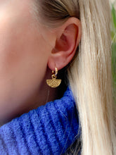 Load image into Gallery viewer, Handmade Gold Vermeil Textured Charm Huggie Hoops
