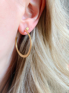 Gold Vermeil Half Hammered Sleek Hoop Earrings