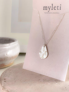 Eco Sterling Silver Botanical Teardrop Necklace