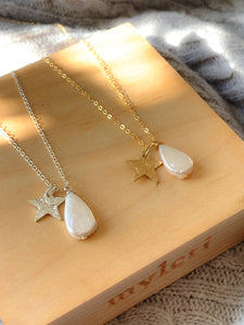 Handmade gold plated star and teardrop pearl necklace