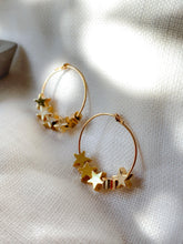 Load image into Gallery viewer, Handcrafted multi mini gold star hoop earrings