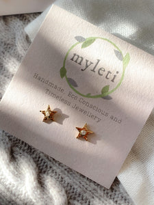 Handmade gold vermeil bright star stud earrings