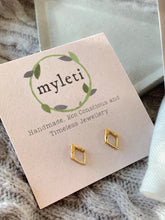 Load image into Gallery viewer, Handmade gold vermeil diamond shape stud earrings