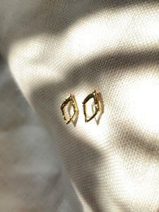 Handmade gold vermeil diamond shape stud earrings