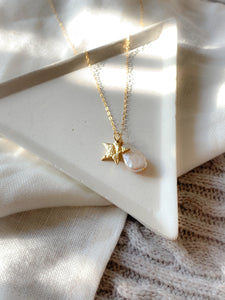 Handmade gold star and freshwater pearl charm necklace