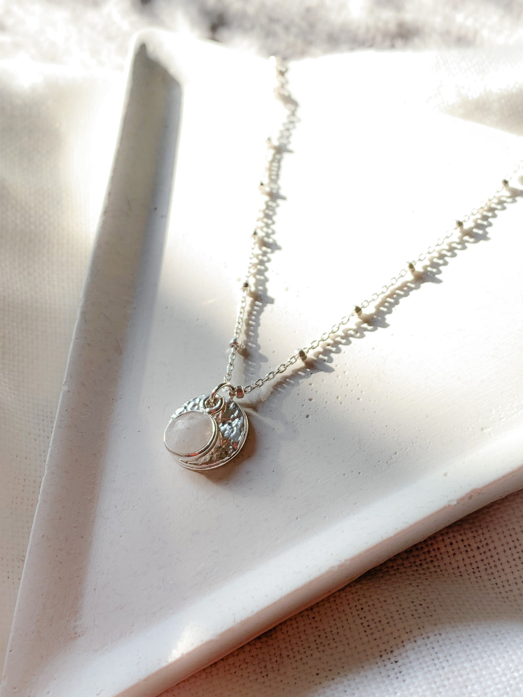 Handmade sterling silver full moon and moonstone necklace