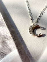 Load image into Gallery viewer, Handmade textured eco silver crescent moon necklace