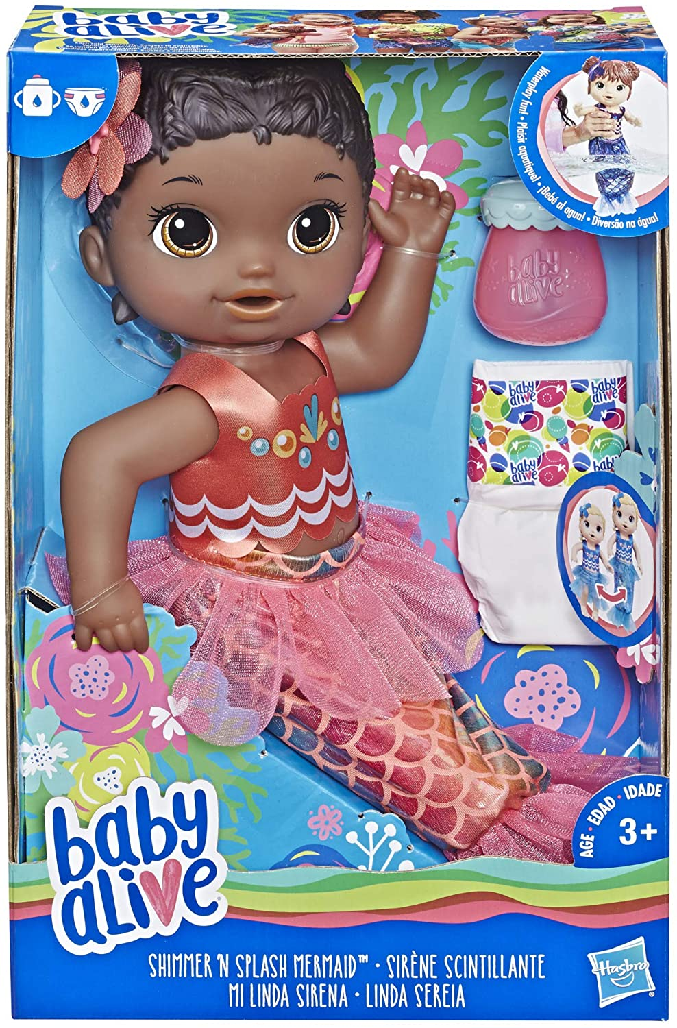 Baby Alive Shimmer 'n Splash Mermaid (Black Hair) - Sirene