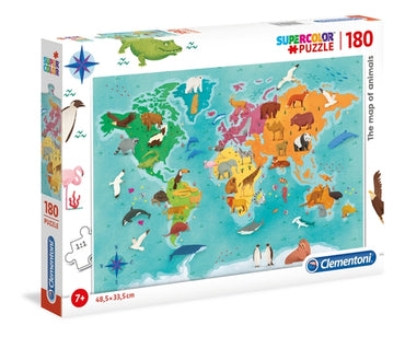 The map of animals - 180 pcs - Supercolor Puzzle