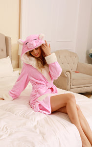 Adult Pink pig Robe Pajamas on newcosplay.net | Low Priced Panda Robe