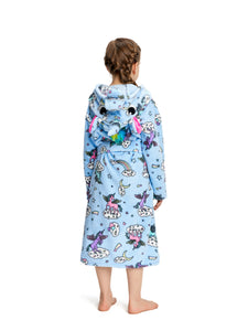NEWCOSPLAY Unisex Kid's Blue-Purple Unicorn Flannel Robe Pajamas