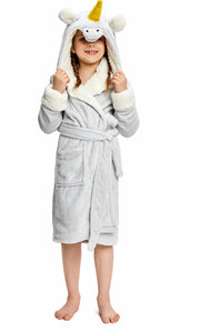 Kid's Grey Unicorn Sherpa Robe  | Christmas Gift for Your Kids