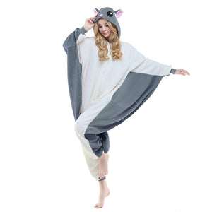 NEWCOSPLAY Unisex Adult Flying Squirrel Cosplay Onesie Pajamas- Plush One Piece Costume