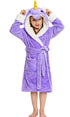 NEWCOSPLAY Unisex Kid's Purple Unicorn Cosplay Sherpa Robe Pajamas for Christmas