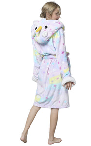 NEWCOSPLAY Unisex Adult Sherpa Bathrobe Unicorn Cosplay Robe Hooded Sleepwear
