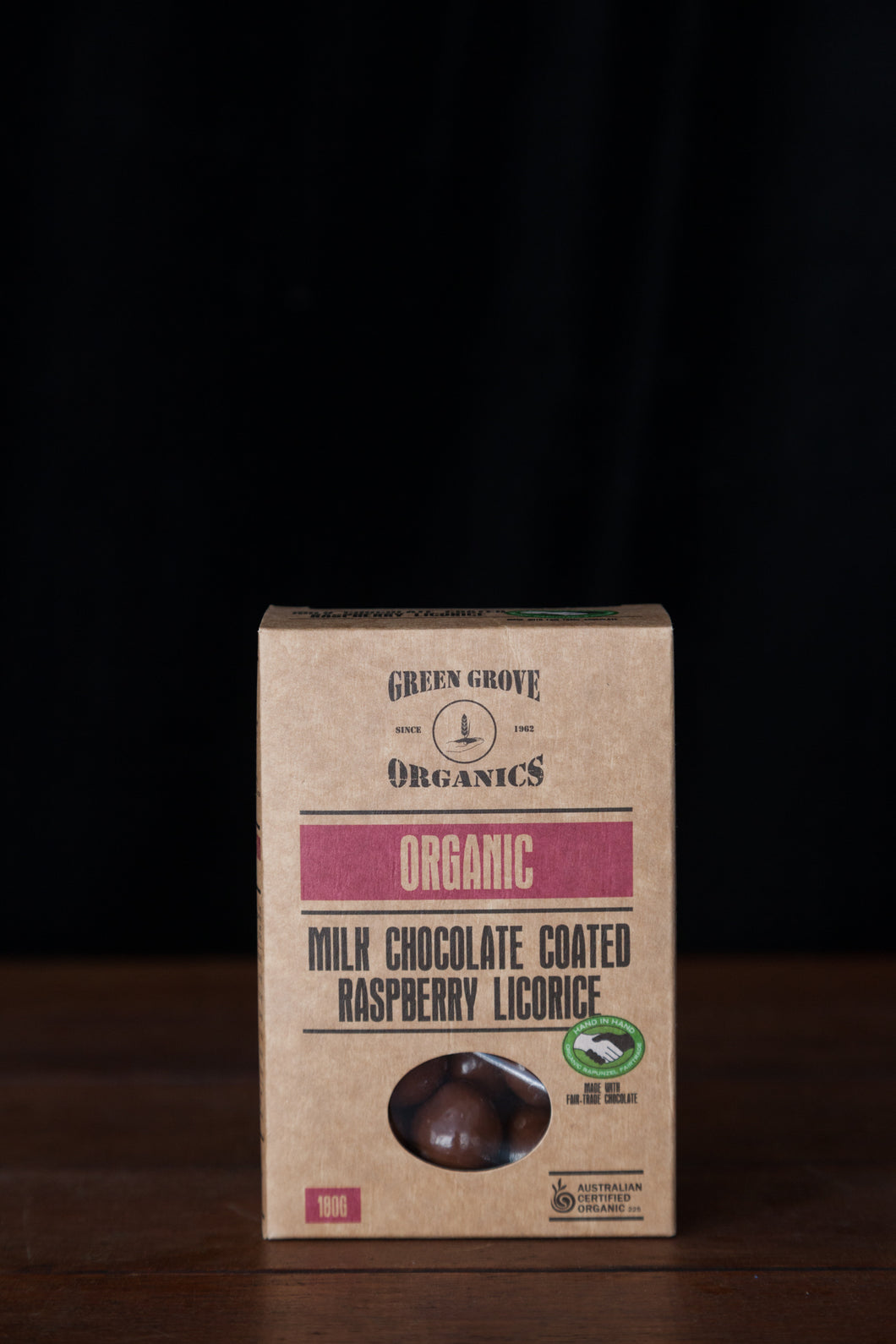 Junee Licorice - Milk Chocolate Coated Raspberry Licorice 180g