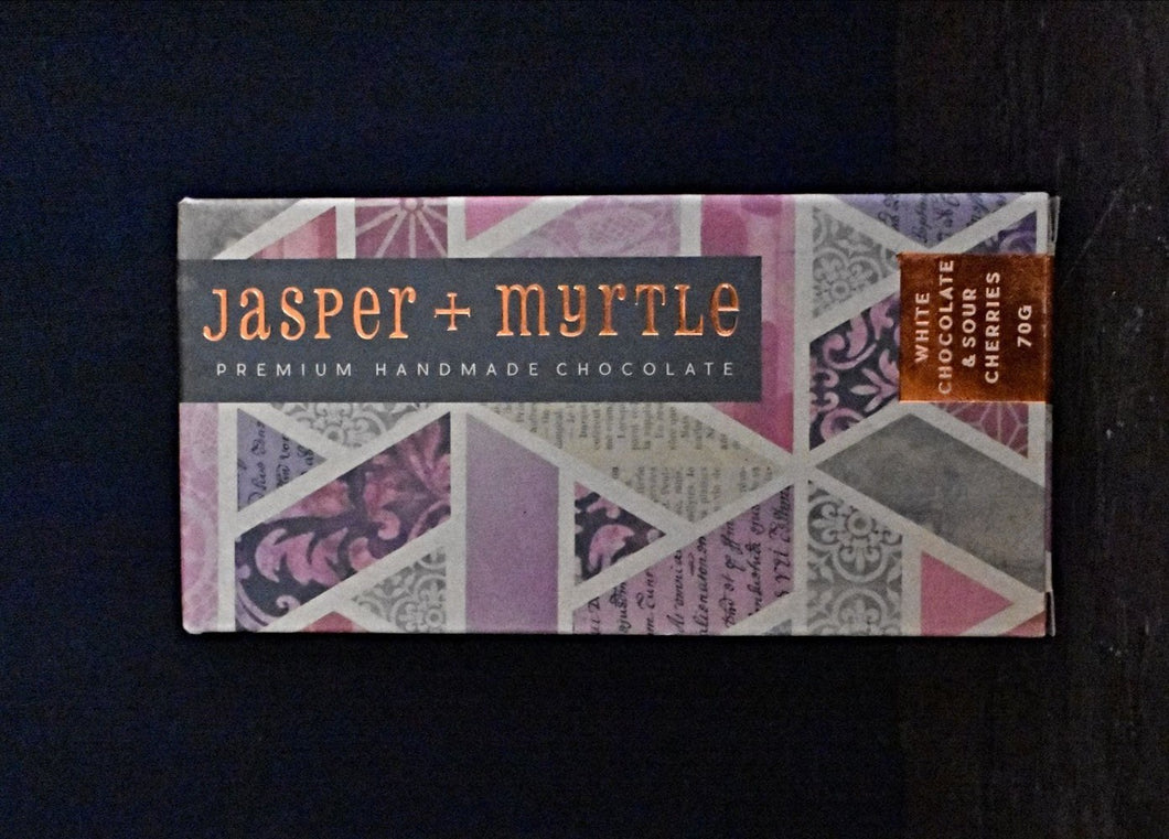 Jasper & Myrtle White Chocolate with Sour Cherries 70g
