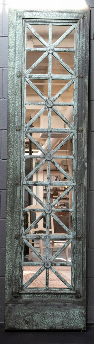 Mirrored Elevator doors circa 1930s with bronze green verdgris patina