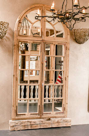 Wonderwall Home and Decor Mirrored English Oak Doors with Arched Transom Design