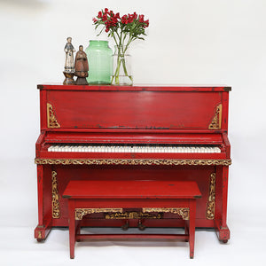 Wonderwall - Red Upright Vaudeville Traveling Piano with Gold Wood Accents