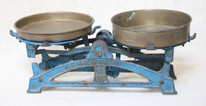 Wonderwall Hungarian Blue vintage Counter top Scale with brass pans