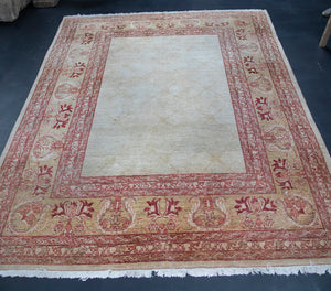 Wonderwall Authentic Persian Rug with Beautiful Beige, Golden, Red, Terracotta, and Fringe Edging