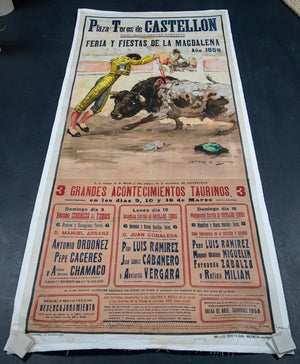 Wonderwall Home Decor and Fine Furnishings Barcelona Bullfighter Poster Original 1979 Set on Linen
