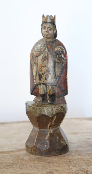 Wonderwall Carved wooden 12 inch Santos saint figure with crown and sphere