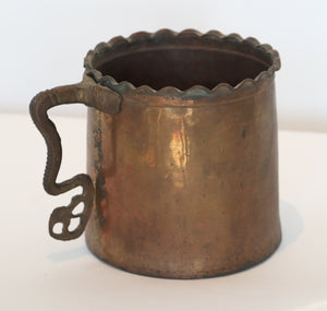 Wonderwall Copper Pot with scalloped edge with iron handle, plant holder vase