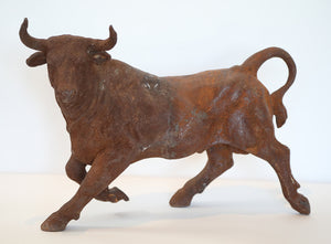 Wonderwall Toreador Bull Statue weathered in rusted Iron