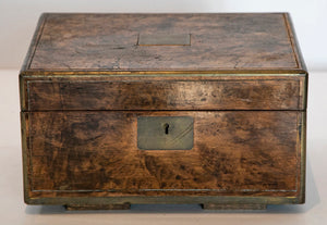 Wonderwall Wooden Box beautiful patina with inlaid brass edges with lock and nameplate