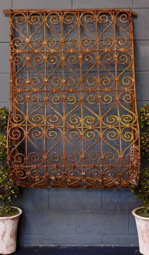 19th Century Scrolled Iron Window Grille or Grate from Wonderwall Home Decor and Fine Furnishings
